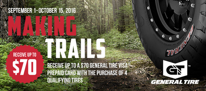 Up To 70 00 Rebate On General Tires Rolling Tire Shop